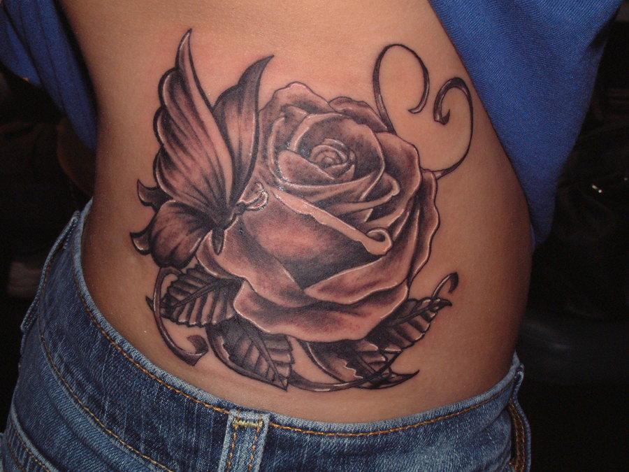 40500cad31f76 Beautiful Black Ink Rose & Butterfly Tattoo On Waist By Tattooistgus