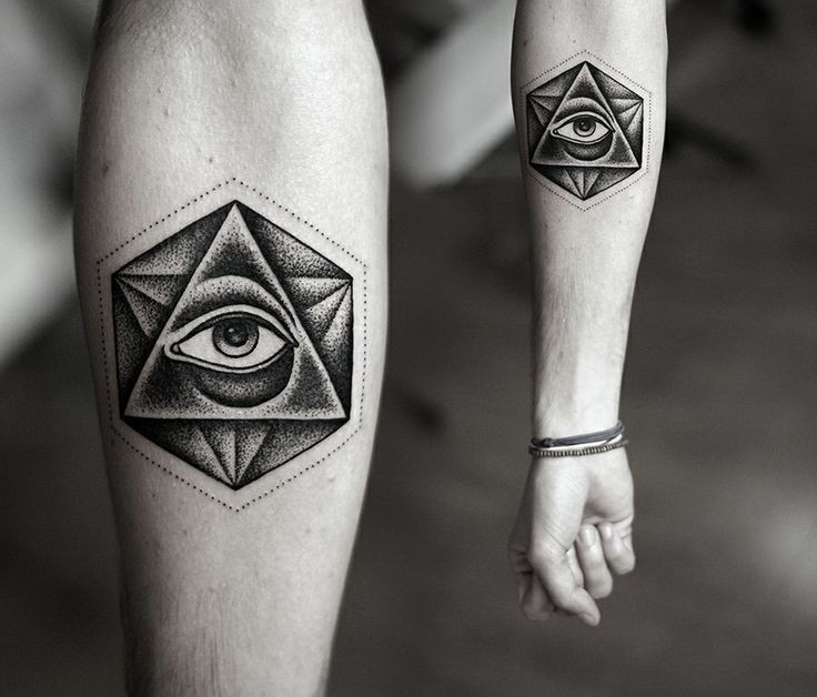 Beautiful Geometrical Dotwork Illuminati Tattoo On Forearm For Girls