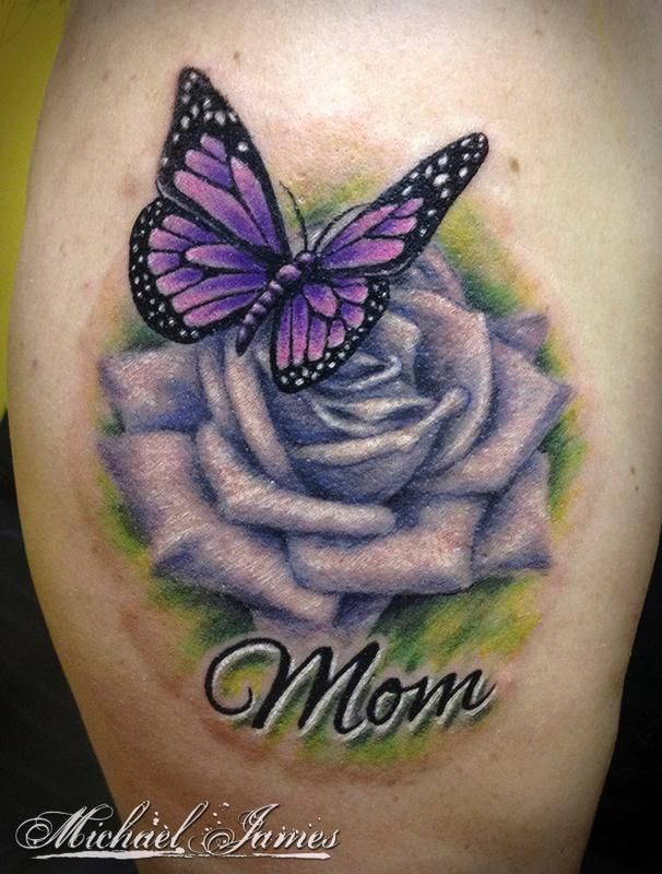 beautiful purple ink rose butterfly memorial tattoo with word mom on shoulder. Black Bedroom Furniture Sets. Home Design Ideas