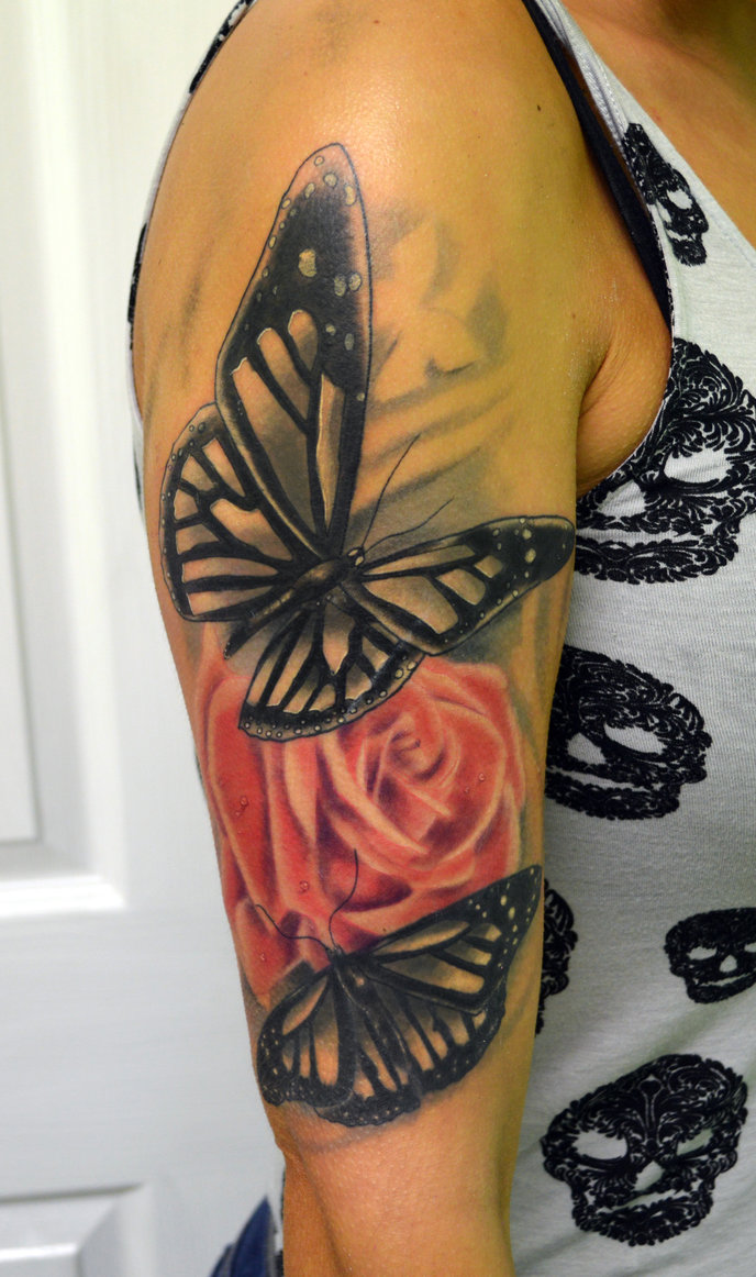 60 amazing rose butterfly tattoos designs with meanings for Butterfly tattoo arm designs