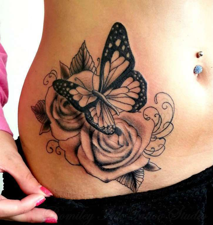 Black Ink Rose Tattoo On Girl Right Hip: 60+ Amazing Rose & Butterfly Tattoos & Designs With Meanings