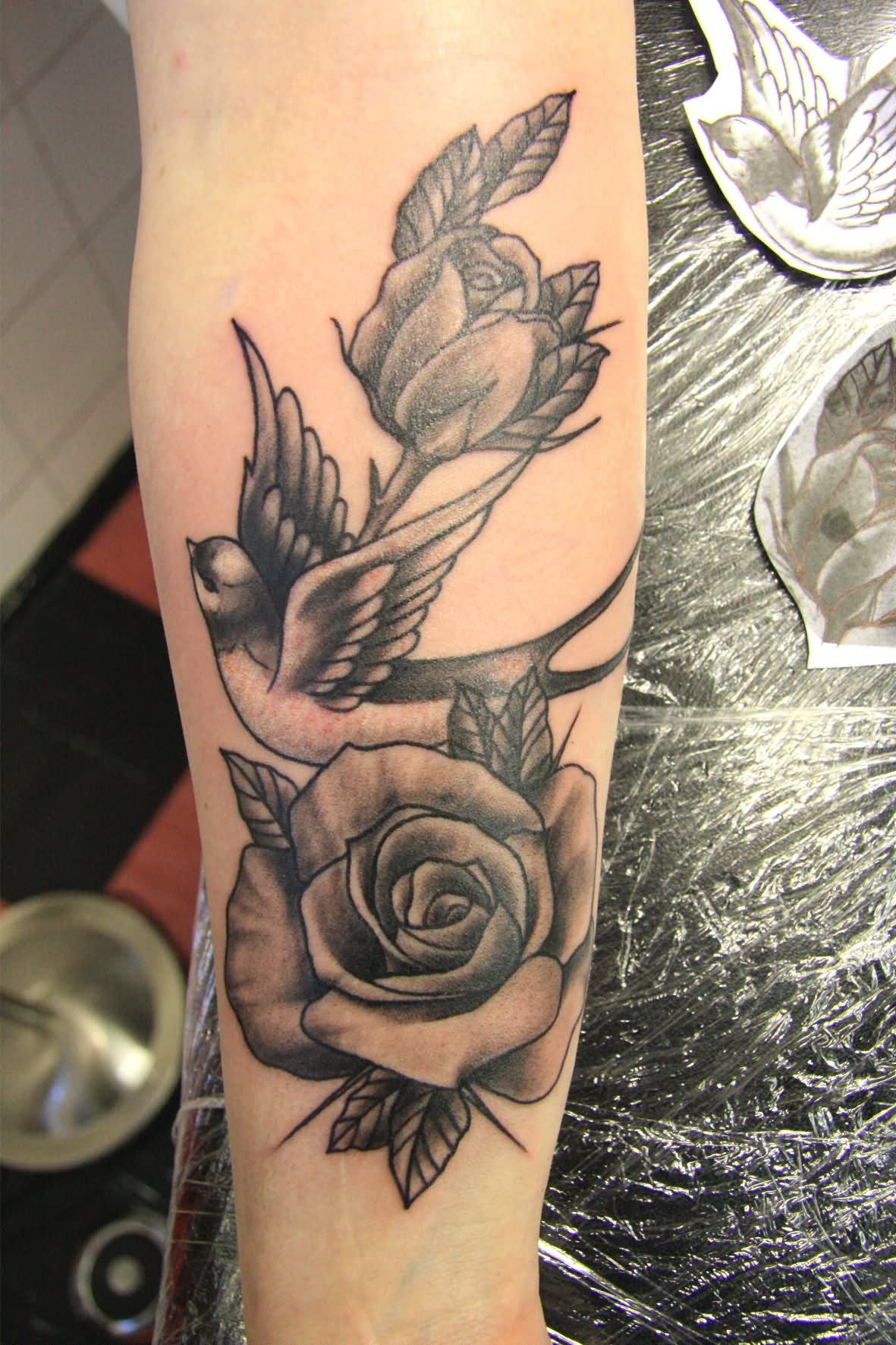 Rose Tattoos Flower: 51+ Excellent Rose & Swallow Tattoos & Designs With Meanings