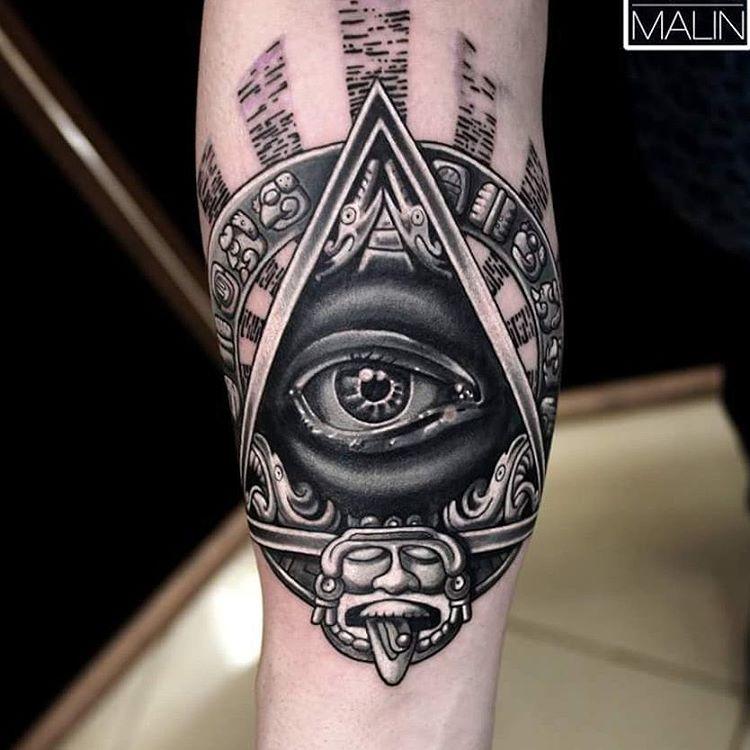 Black Ink 3D Tribal Illuminati Tattoo On Arm