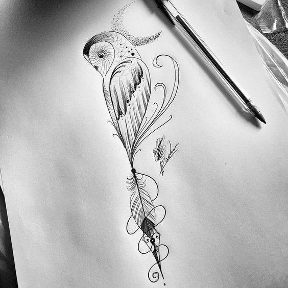 30 wonderful owl feather tattoo ideas designs. Black Bedroom Furniture Sets. Home Design Ideas