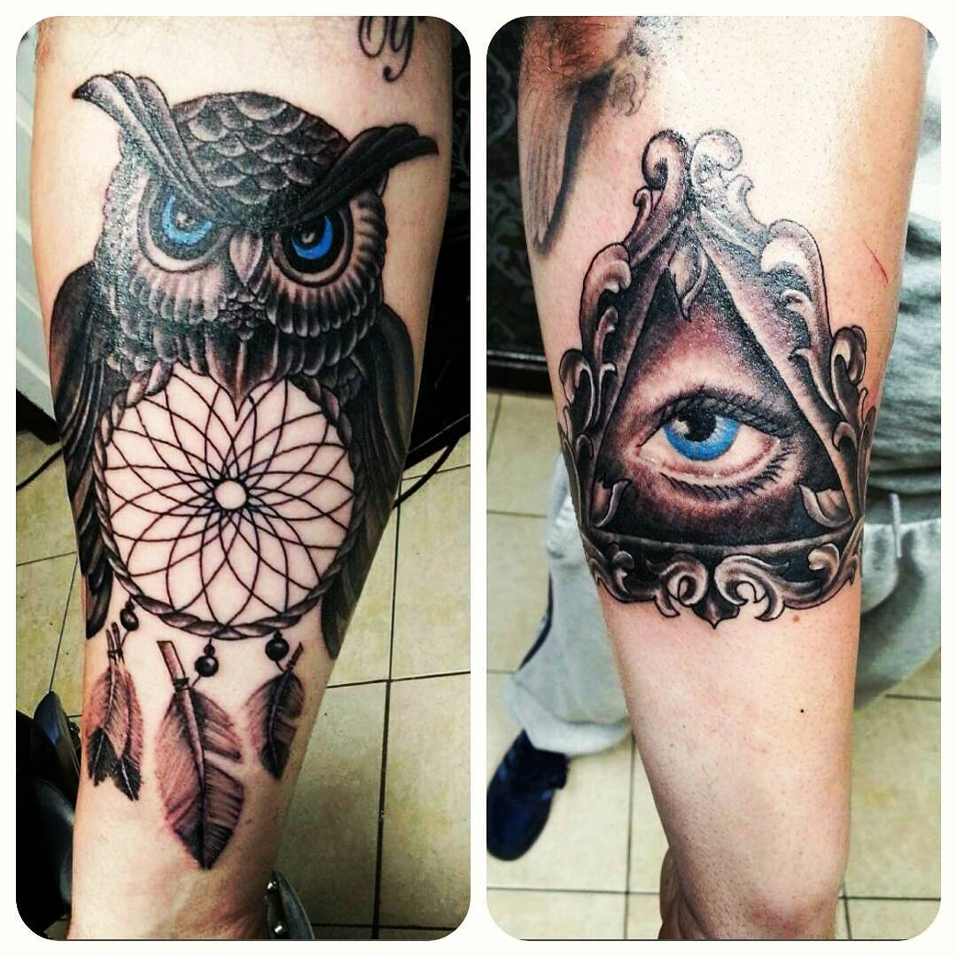 Black Ink Dreamcatcher Owl Antique Frame Illuminati Eye Tattoo On