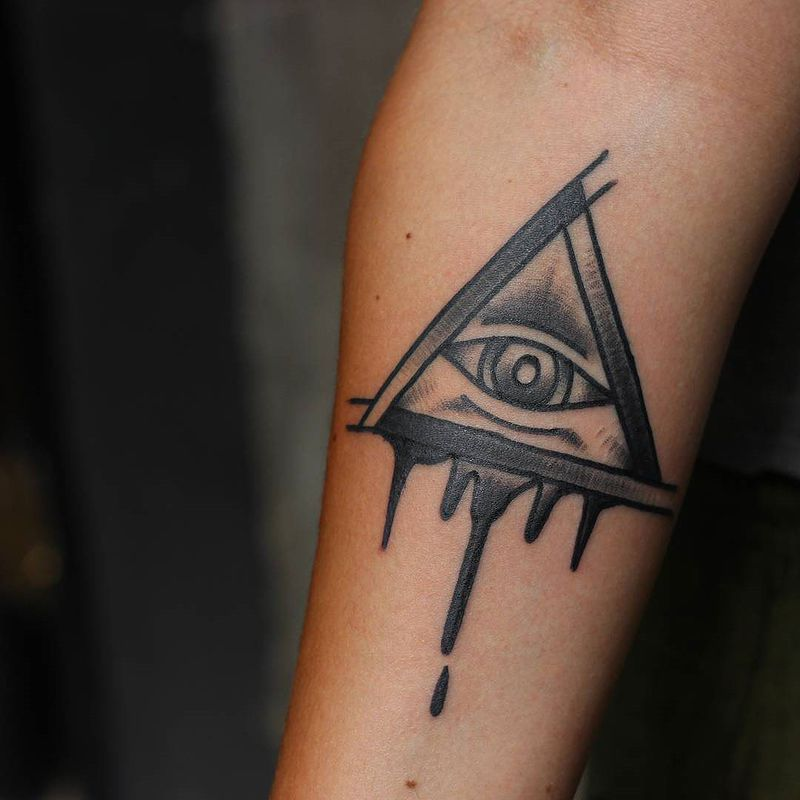 Black Shaded Melting Illuminati Tattoo On Forearm For Girls