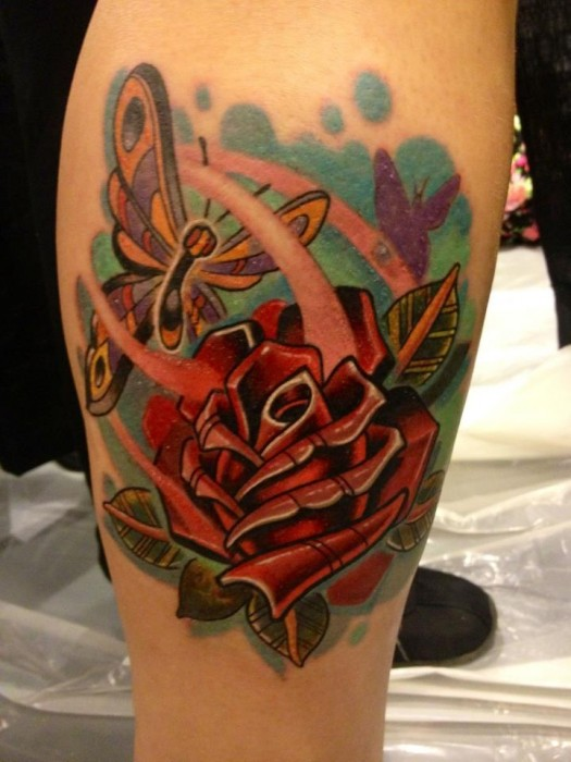Colorful Red Rose Amp Butterfly Tattoo On Thigh