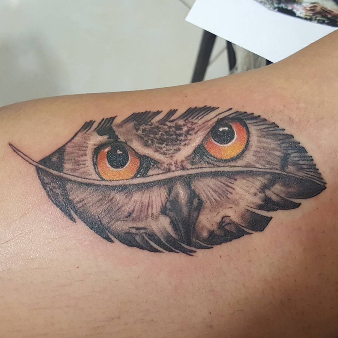 28 Owl Tattoo Designs Ideas: Grey Ink Unique Owl In Feather Tattoo Design