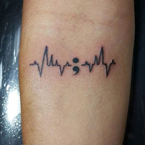 Incredible Heart Rate & Semicolon Tattoo On Forearm