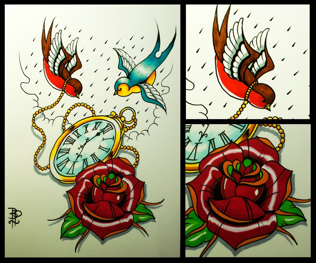 51 Excellent Rose Swallow Tattoos Designs With Meanings
