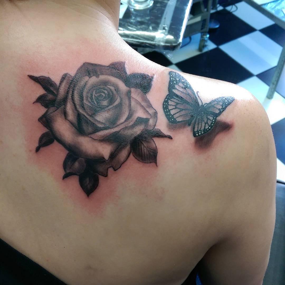 b95cbf9424cb4 Stunning 3D Black Ink Rose & Butterfly Tattoo On Shoulder For Girls