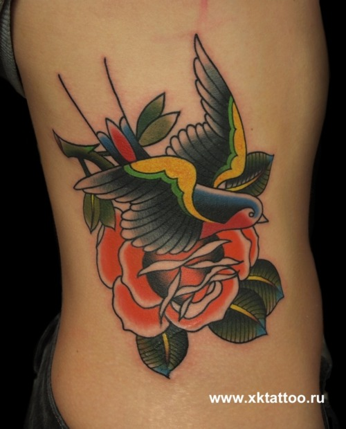 51 Excellent Rose Amp Swallow Tattoos Amp Designs With Meanings border=