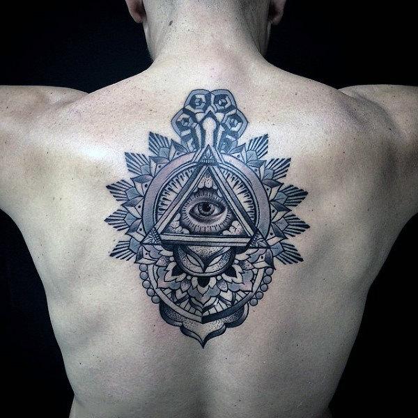 Wonderful Black Ink Illuminati Tattoo On Male Back