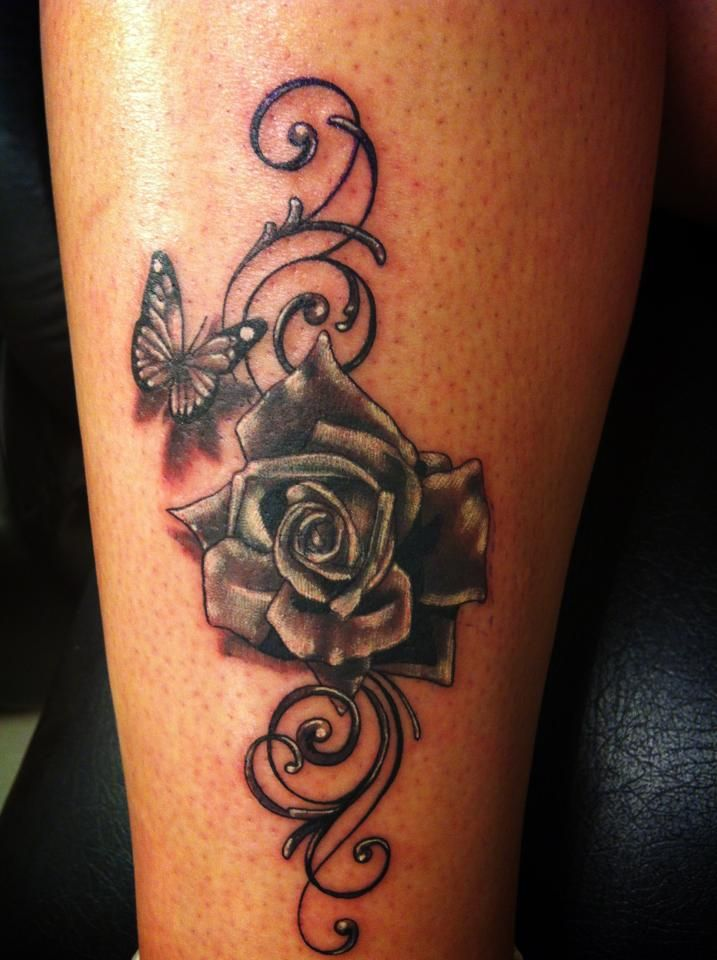 Wonderful Black Ink Rose Butterfly Tattoo Design For Girls