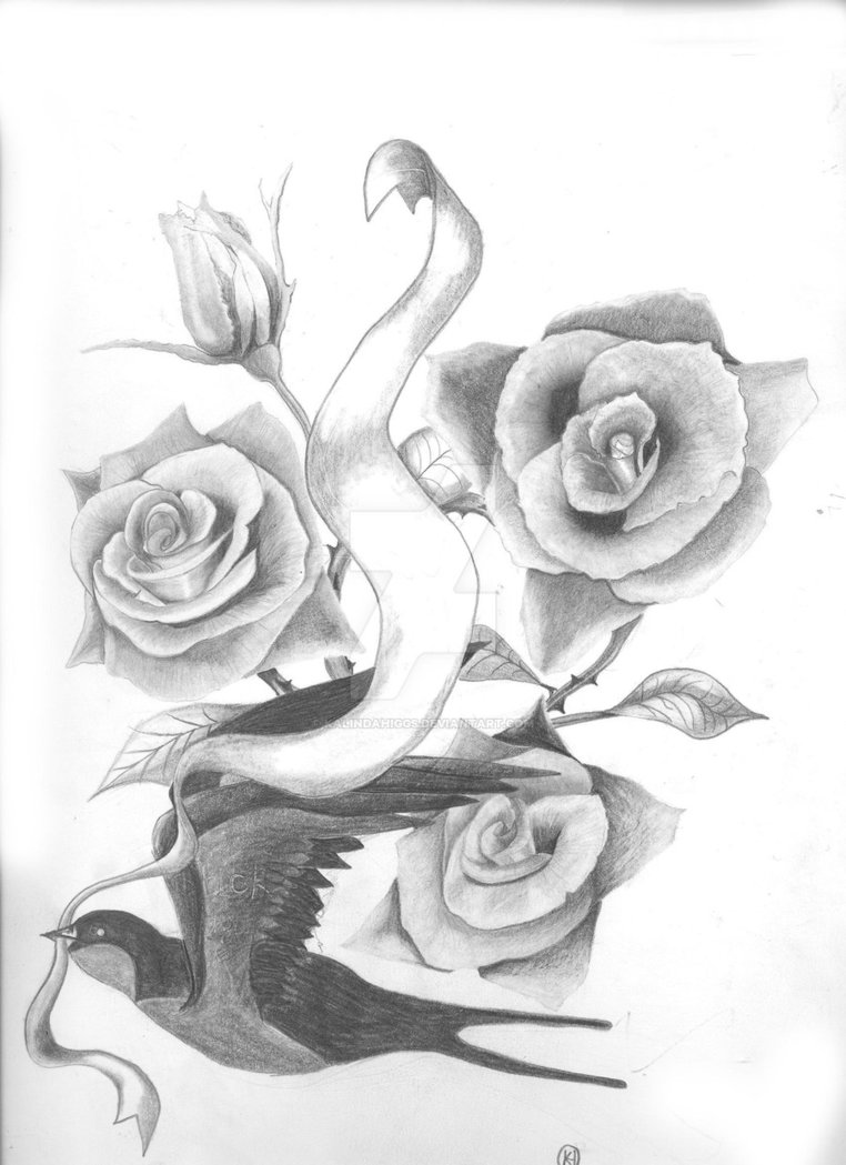206d575a81ce7 Wonderful Grey Ink Realistic Three Roses and Swallow Tattoo Design by  KalindaHiggs