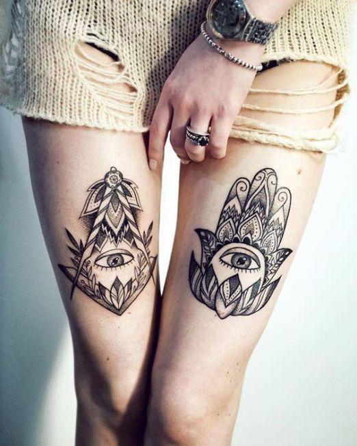 Wonderful Illuminati Tattoos On Thighs For Girls