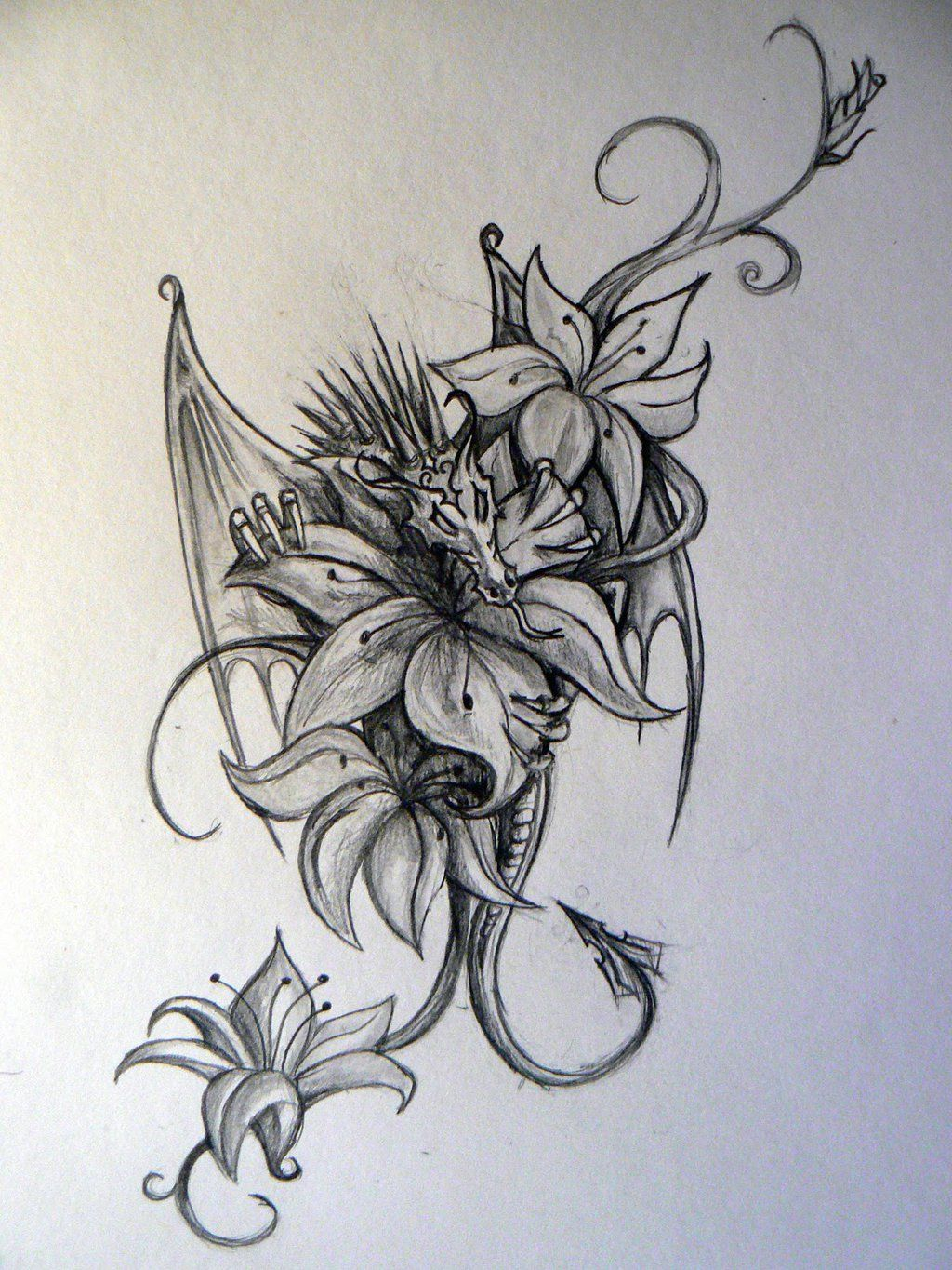 Dragon Tattoo With Flowers: 60+ Dragon And Flowers Tattoo Designs & Ideas