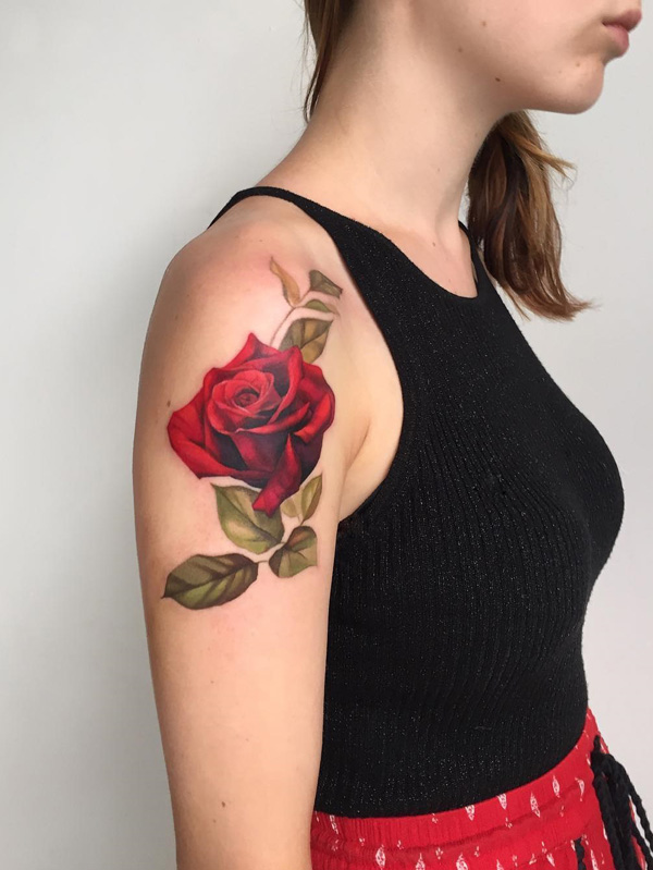 75+ Lovable Red Rose Tattoos and Designs With Meanings