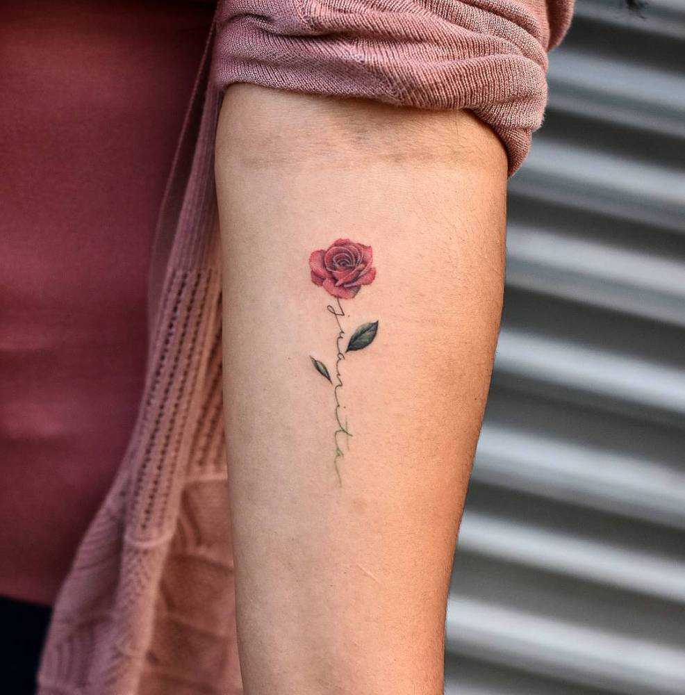 Small Red Rose Tattoo On Wrist