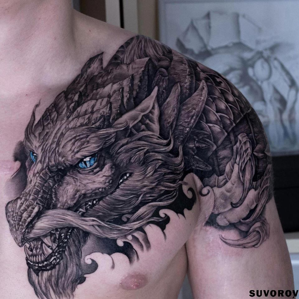 Dragon Tattoo Over Shoulder: 101+ Stunning Dragon Tattoos & Designs With Meanings