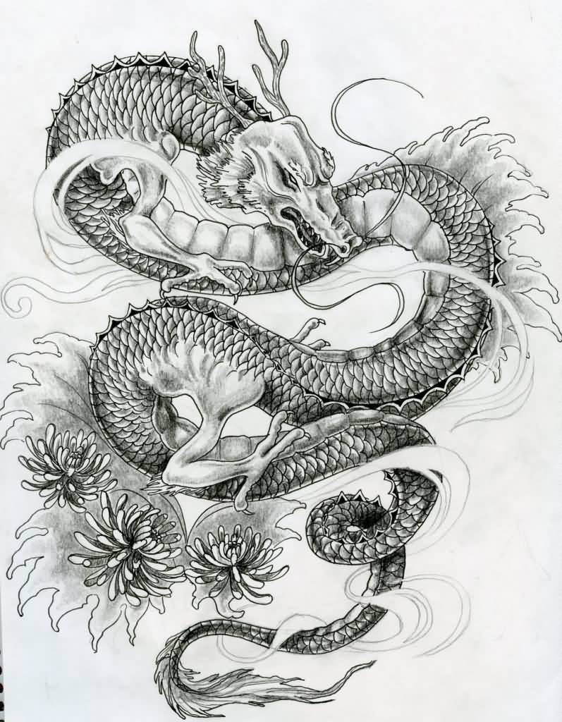 Black Ink Japanese Dragon With Flowers Tattoo Design