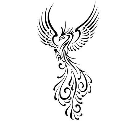 Black Outline Flying Phoenix Tattoo Design