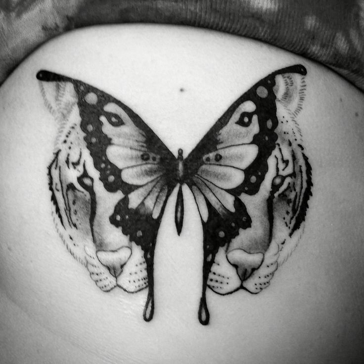 6f3cffd80 Amazing Unique Black & White Butterfly With Tiger Face In Wings Tattoo