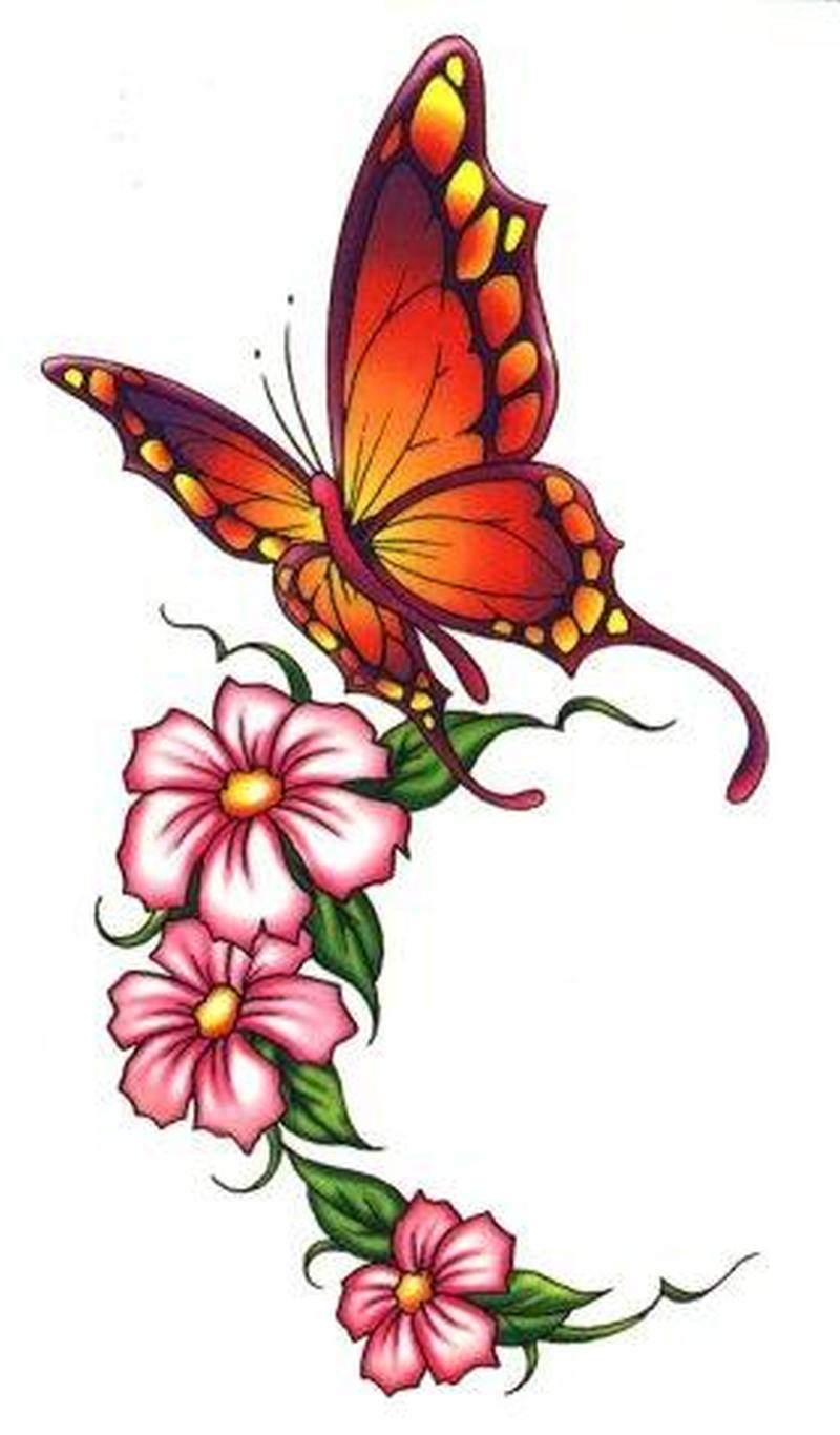 Butterfly and flowers tattoo izmirmasajfo