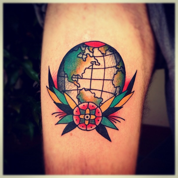 Colored old school world map globe earth tattoo on left arm gumiabroncs Image collections