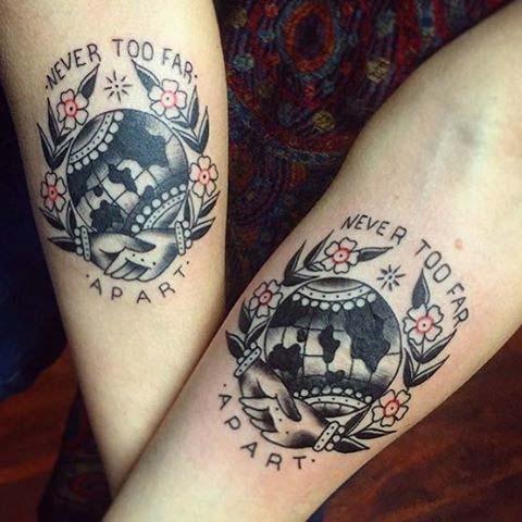 Couple Traditional Design Globe Tattoo On Inner Forearm