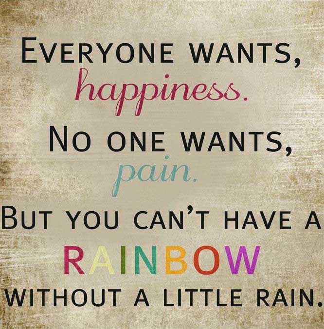 everyone wants happiness no one wants pain but you can t have a