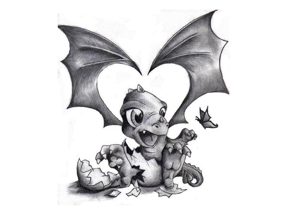 bd2c3fed8da59 Grey Ink Baby Dragon Coming Out Of Egg Tattoo Design
