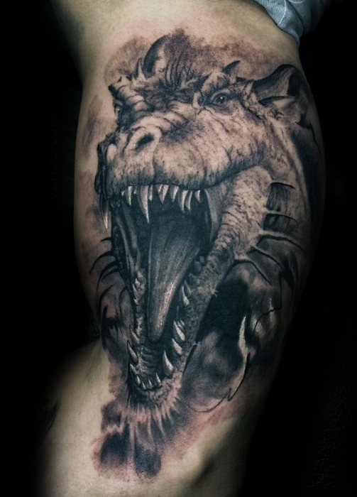 Grey Ink 3D Dragon Face Tattoo For Men