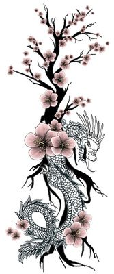 60 Dragon And Flowers Tattoo Designs Ideas