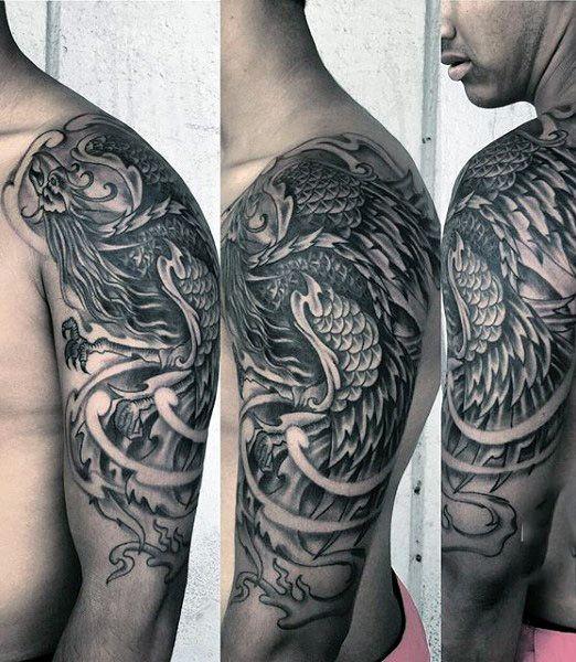 Colored Phoenix Sleeve Tattoo For Men: Manly Black & White Phoenix Tattoo On Men Half Sleeve