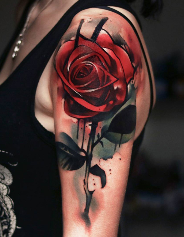 Rose Tattoofor Arm To Chest: Modern Style Shoulder Red Rose Tattoo For Women