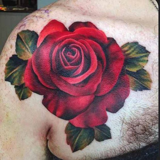 f17ffd4b7f876 Realistic red rose with green leaves tattoo on shoulder