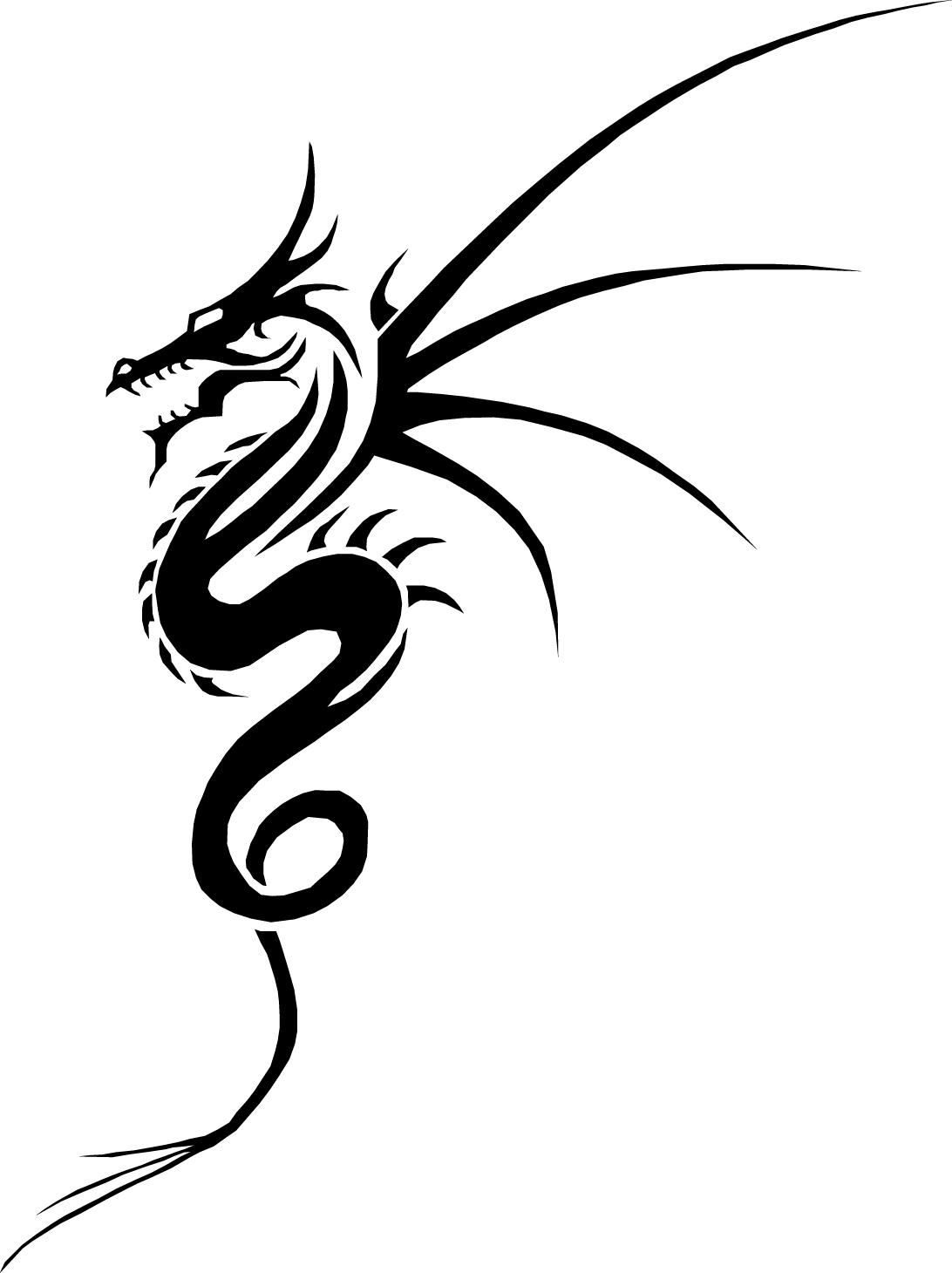Simple Black Tribal Dragon Tattoo Design