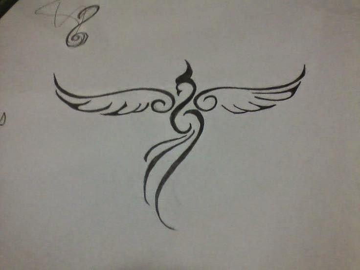 Simple Open Winged Phoenix Tattoo Design