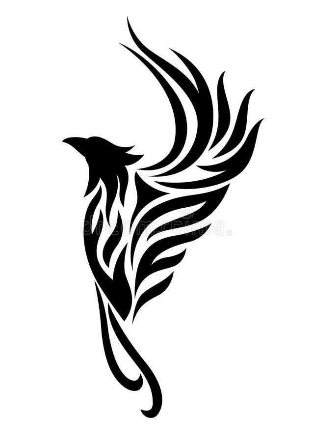 Simple Tribal Rising Phoenix Tattoo Design