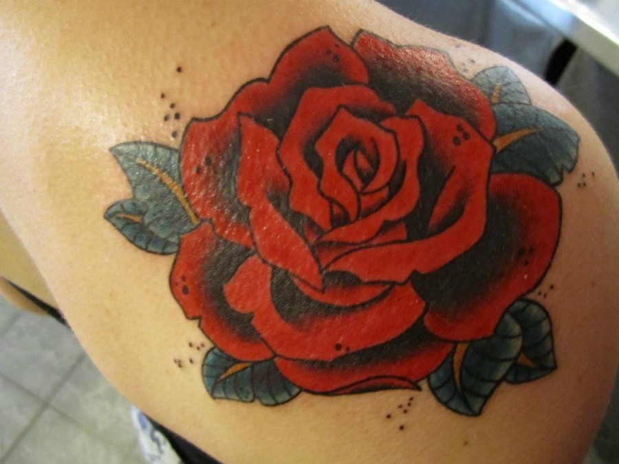 Traditional Men Top Shoulder Red Rose Tattoo By Hania Sobieski