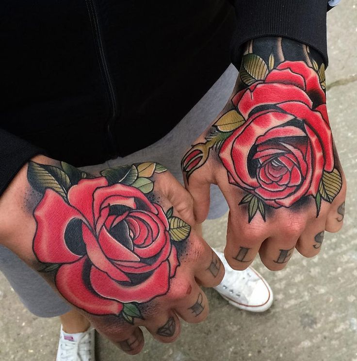 Traditional Red Rose Hand Tattoos For Men