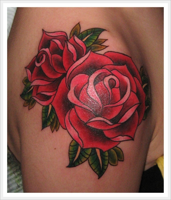 Traditional Red Roses Tattoo On Shoulder For Girls