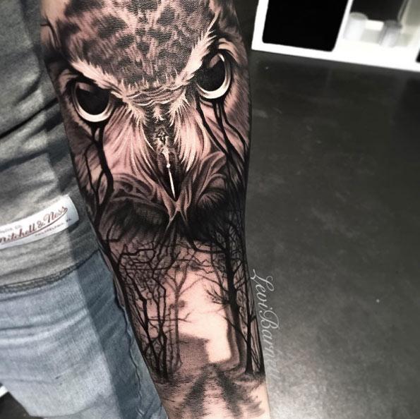 3d Dark Owl Tattoo On Forearm By Levi Barnett