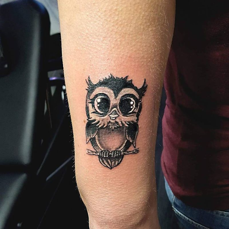 Small Black Baby Owl Tattoo On Arm For Women