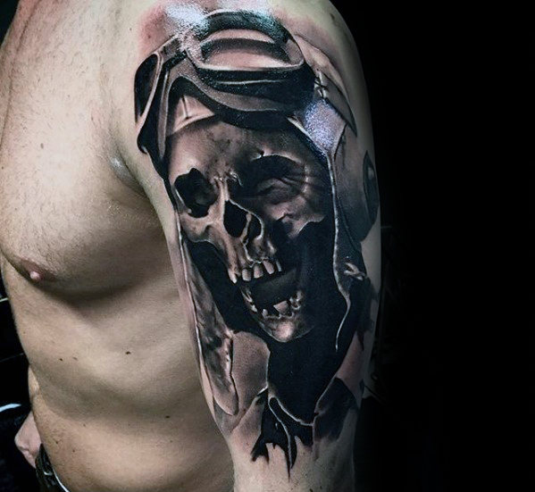 101 Best Foot Tattoo Designs And Ideas With Significant: Black And Grey Shaded Fighter Pilot Skull Tattoo On Upper