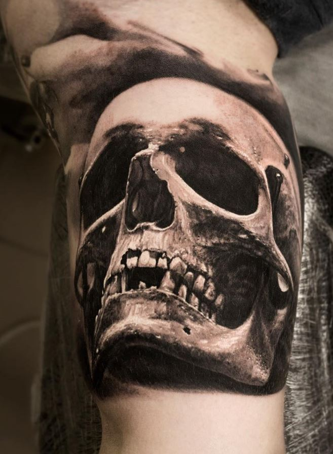 29 Latest Hourglass Tattoo Images, Designs And Pictures   Black And Grey Skull Tattoo Designs