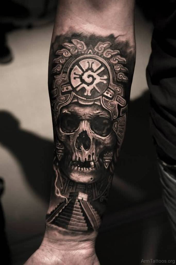 4bc5d931a Black and grey shaded skull tattoo on inner forearm for men