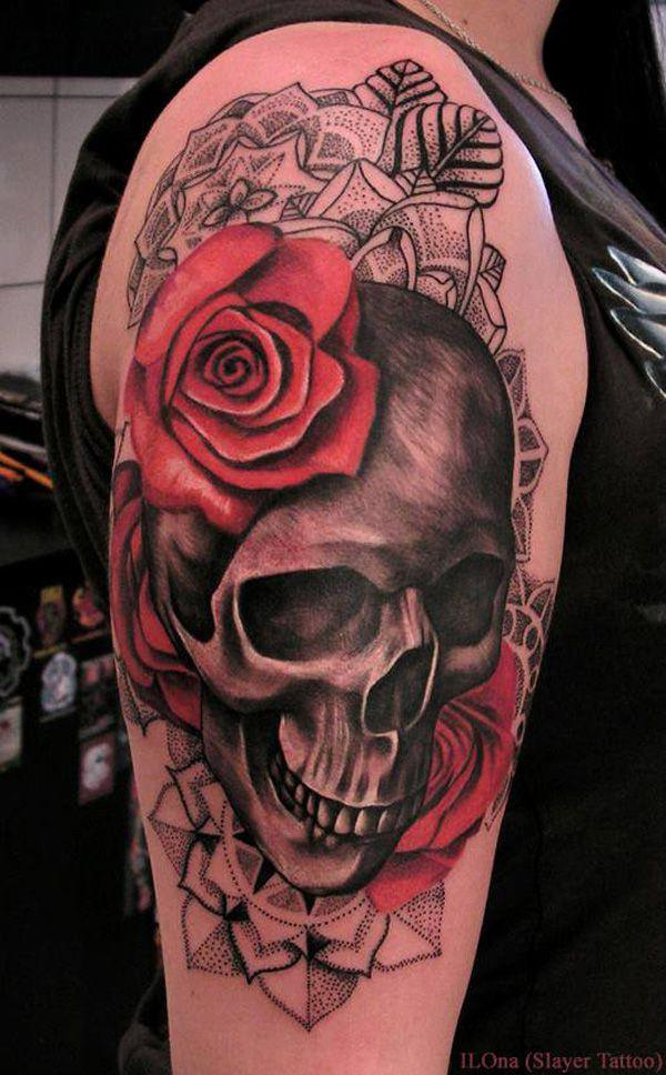 Black And Red Shaded Skull And Rose Tattoo On Upper Arm For Women