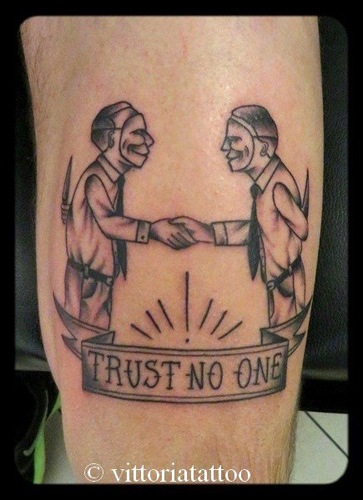 Black Bad Men Trust No One Tattoo On Arm